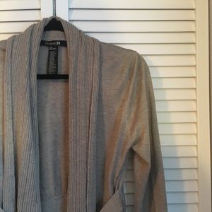Forever 21 Sweaters - Forever 21 Tan Belted Cardigan Sweater